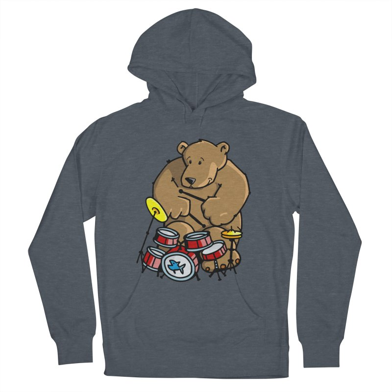 The Bear is a Drumming Bear in Men's French Terry Pullover Hoody Heather Navy Denim by Illustrated Madness