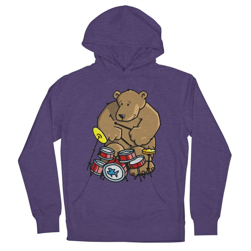 The Bear is a Drumming Bear Men's French Terry Pullover Hoody by Illustrated Madness