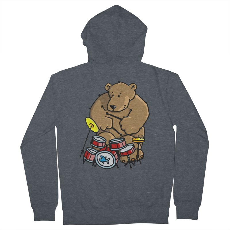 The Bear is a Drumming Bear Women's French Terry Zip-Up Hoody by Illustrated Madness