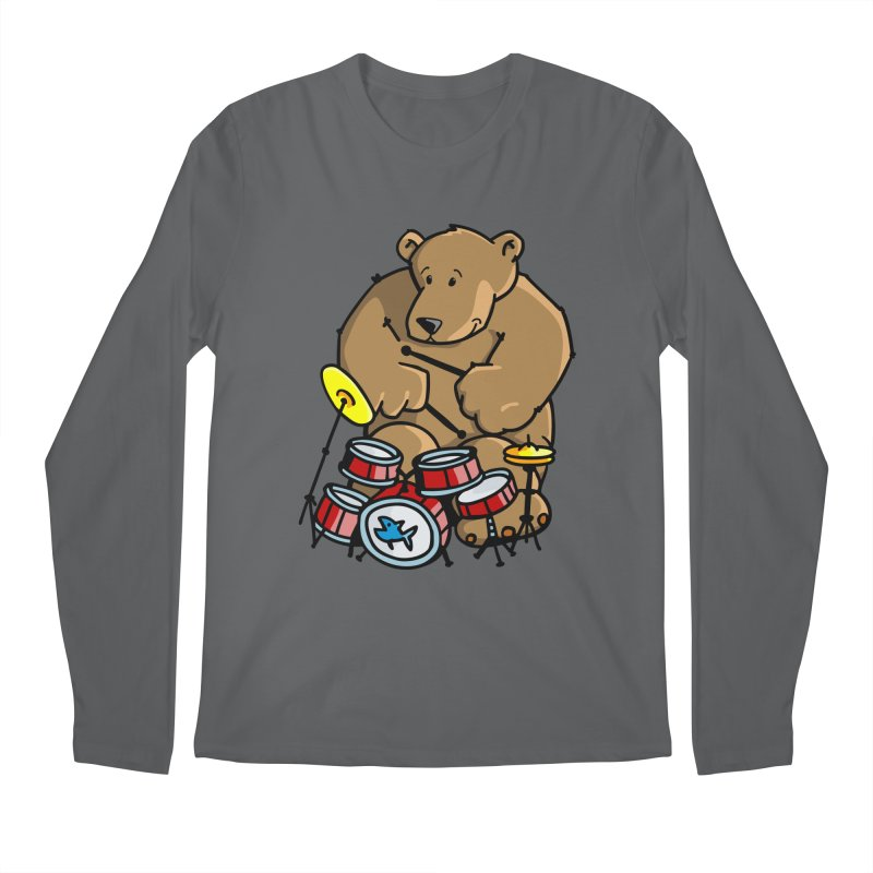 The Bear is a Drumming Bear Men's Regular Longsleeve T-Shirt by Illustrated Madness