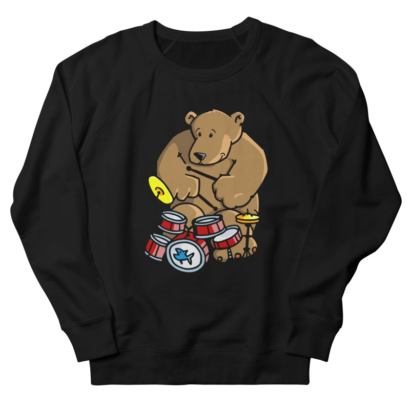 The Bear is a Drumming Bear Women's French Terry Sweatshirt by Illustrated Madness