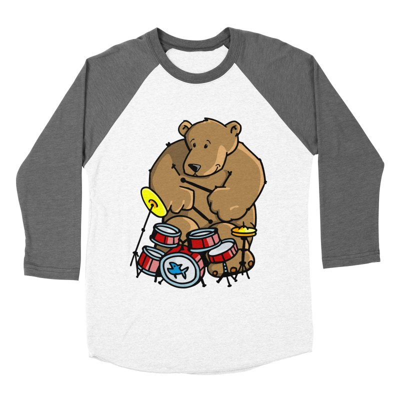 The Bear is a Drumming Bear Women's Baseball Triblend Longsleeve T-Shirt by Illustrated Madness