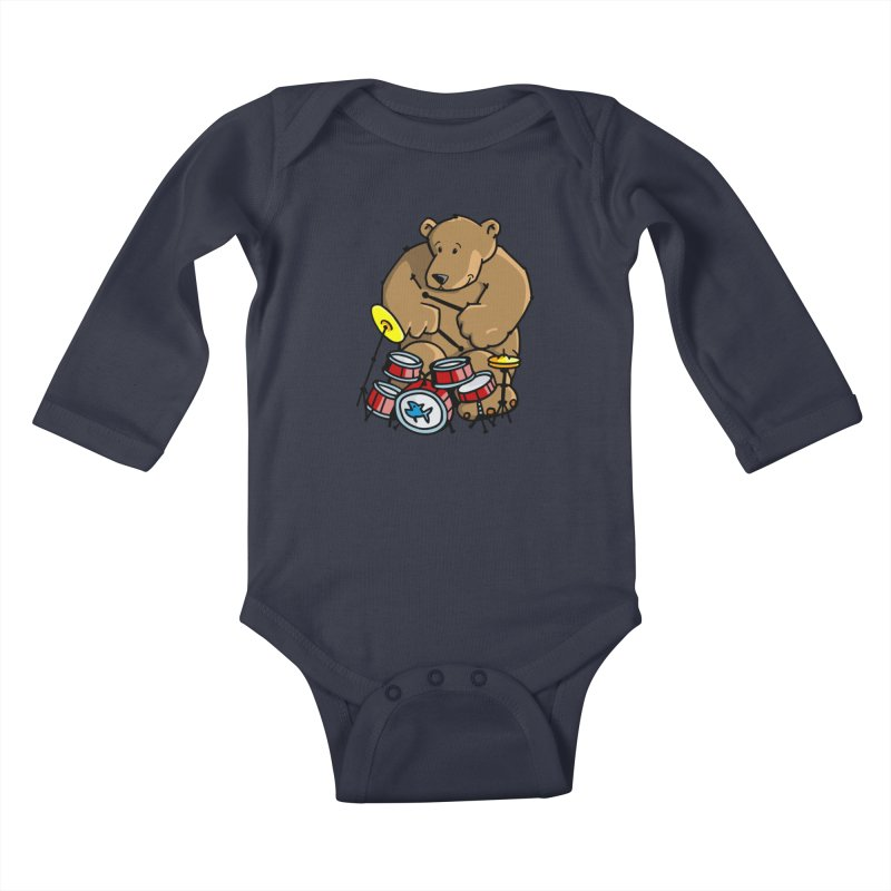 The Bear is a Drumming Bear Kids Baby Longsleeve Bodysuit by Illustrated Madness