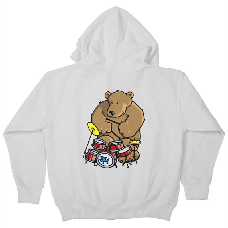 The Bear is a Drumming Bear Kids Zip-Up Hoody by Illustrated Madness