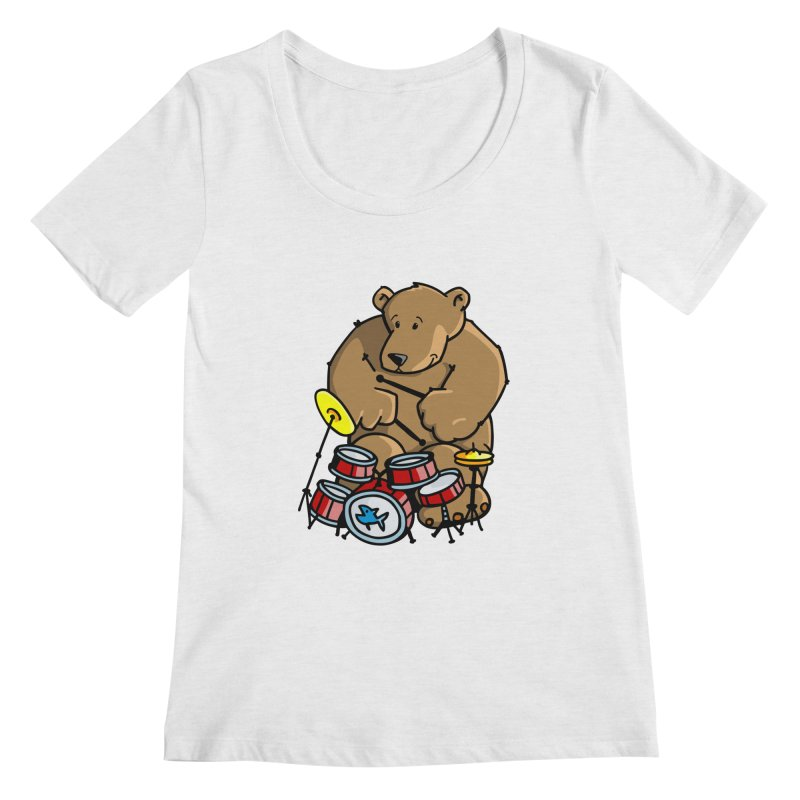 The Bear is a Drumming Bear Women's Regular Scoop Neck by Illustrated Madness
