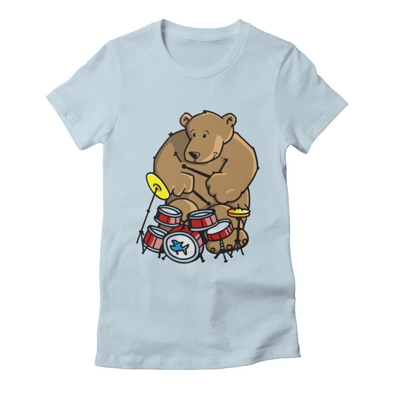The Bear is a Drumming Bear Women's Fitted T-Shirt by Illustrated Madness