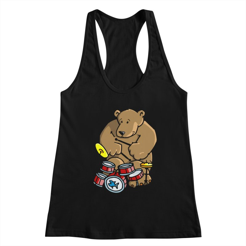 The Bear is a Drumming Bear Women's Tank by Illustrated Madness