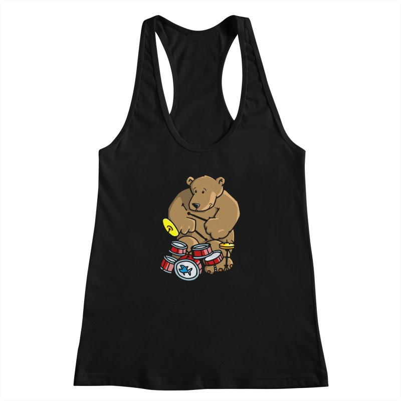 The Bear is a Drumming Bear Women's Racerback Tank by Illustrated Madness