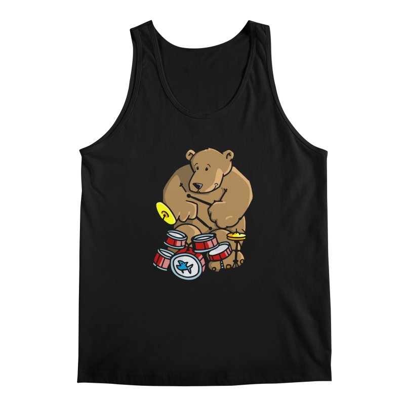 The Bear is a Drumming Bear Men's Regular Tank by Illustrated Madness
