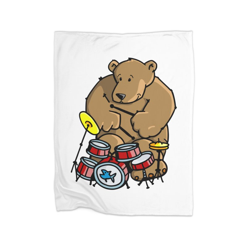 The Bear is a Drumming Bear Home Fleece Blanket Blanket by Illustrated Madness