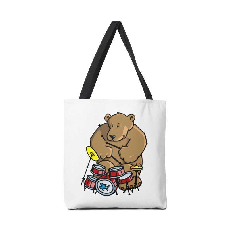 The Bear is a Drumming Bear Accessories Tote Bag Bag by Illustrated Madness