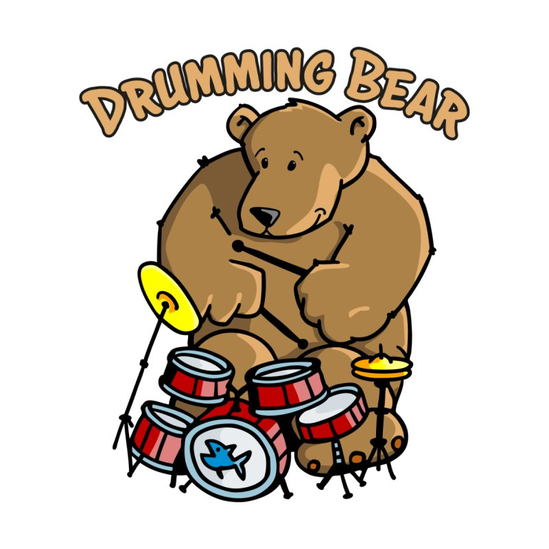 Drumming Bear plays a cool Rhythm Women's Longsleeve T-Shirt by Illustrated Madness