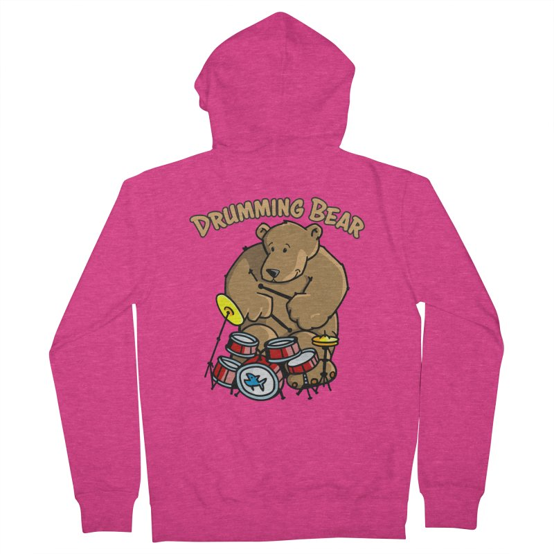 Drumming Bear plays a cool Rhythm Women's French Terry Zip-Up Hoody by Illustrated Madness