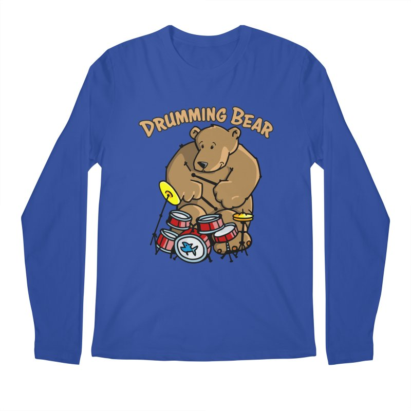 Drumming Bear plays a cool Rhythm Men's Regular Longsleeve T-Shirt by Illustrated Madness