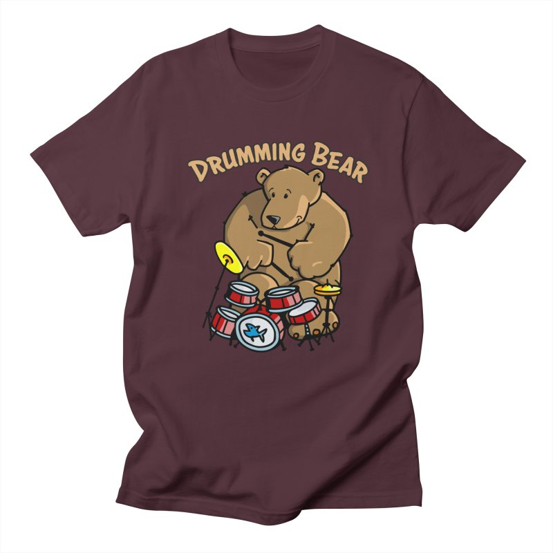 Drumming Bear plays a cool Rhythm Men's Regular T-Shirt by Illustrated Madness