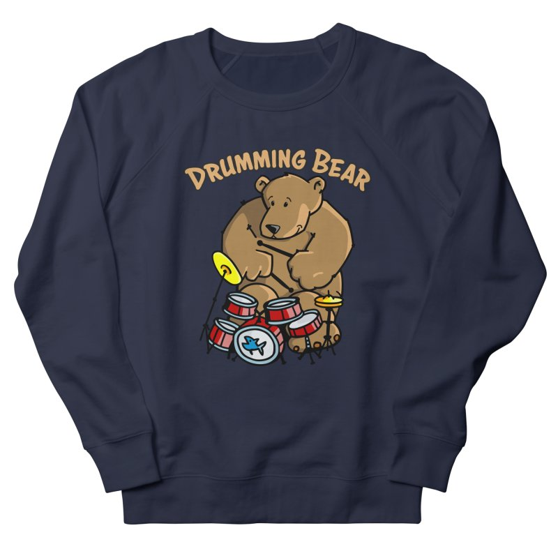 Drumming Bear plays a cool Rhythm Women's French Terry Sweatshirt by Illustrated Madness