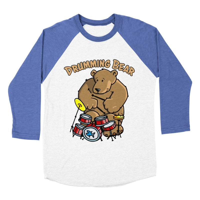 Drumming Bear plays a cool Rhythm Women's Baseball Triblend Longsleeve T-Shirt by Illustrated Madness