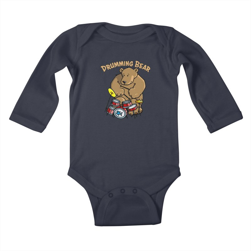 Drumming Bear plays a cool Rhythm Kids Baby Longsleeve Bodysuit by Illustrated Madness