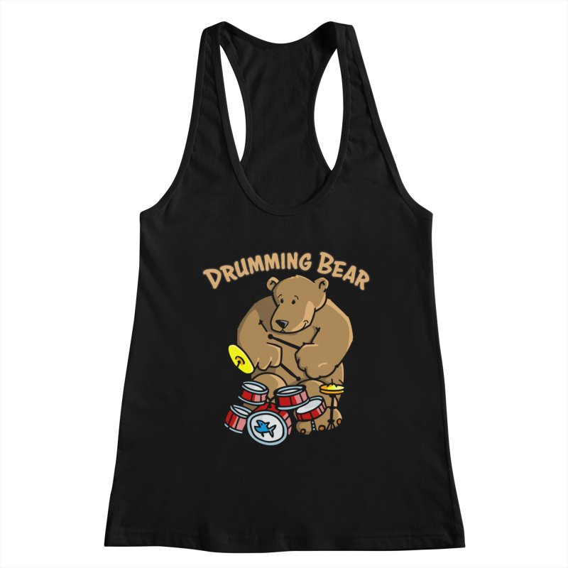 Drumming Bear plays a cool Rhythm Women's Tank by Illustrated Madness