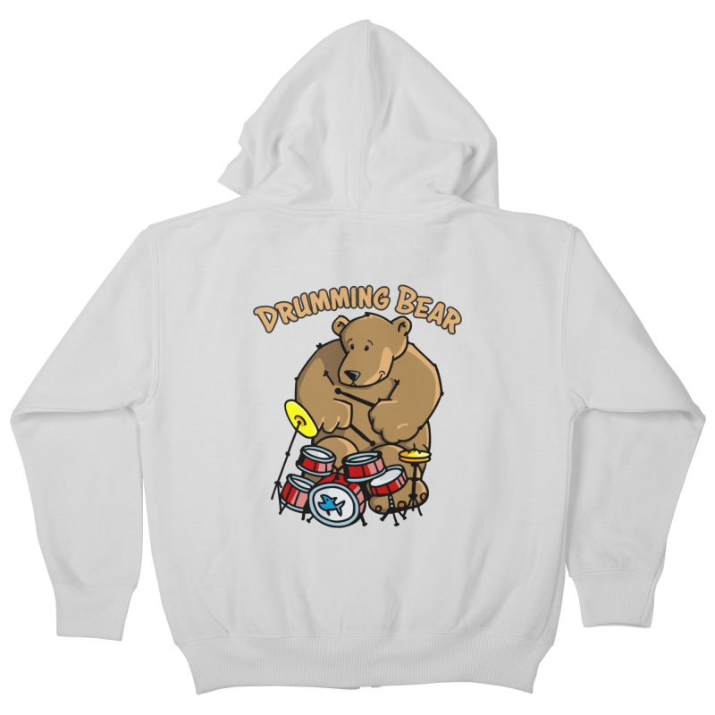 Drumming Bear plays a cool Rhythm Kids Zip-Up Hoody by Illustrated Madness