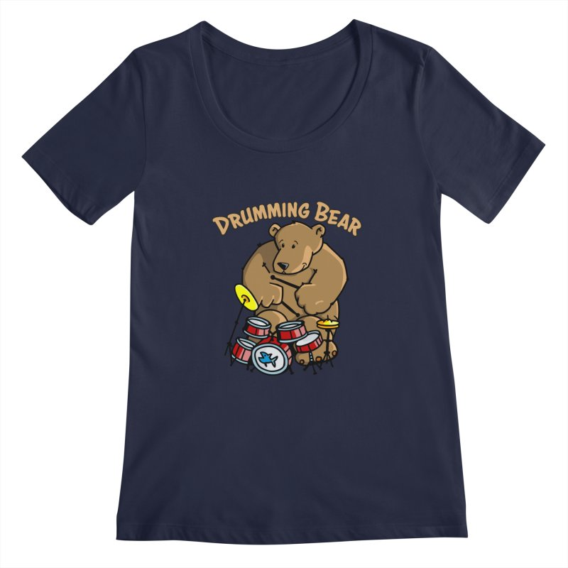 Drumming Bear plays a cool Rhythm Women's Regular Scoop Neck by Illustrated Madness