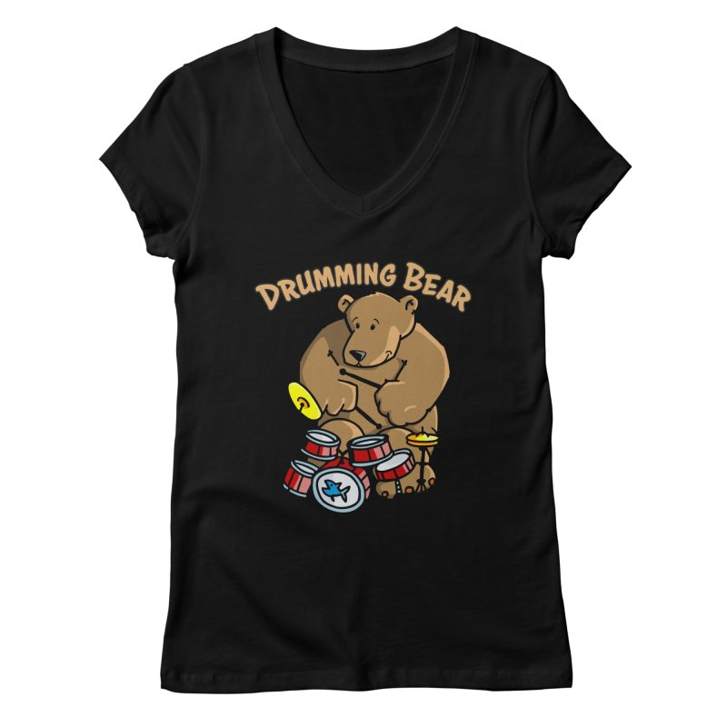Drumming Bear plays a cool Rhythm Women's V-Neck by Illustrated Madness