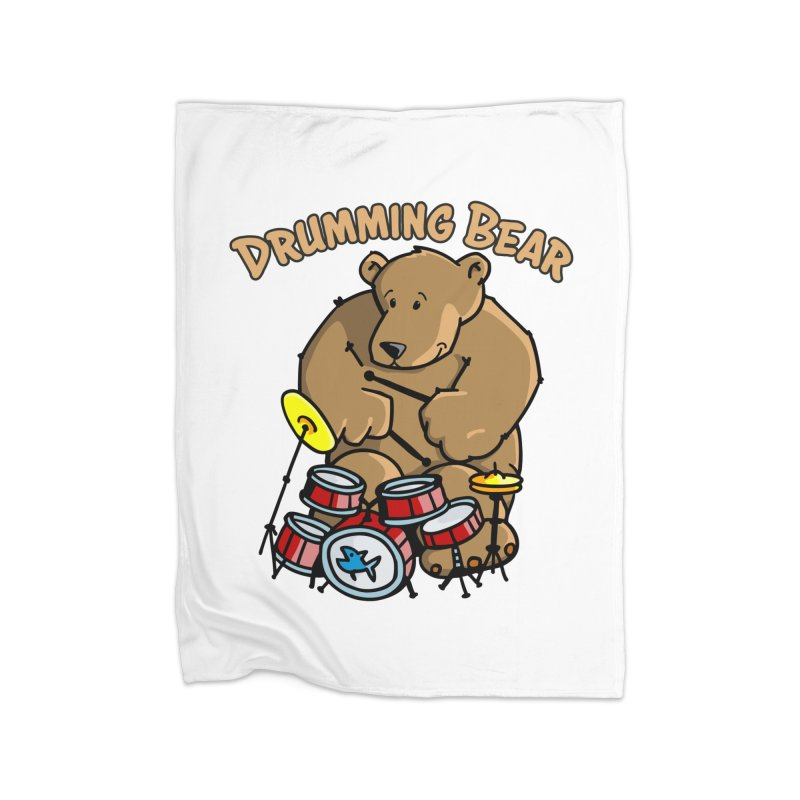 Drumming Bear plays a cool Rhythm Home Fleece Blanket Blanket by Illustrated Madness