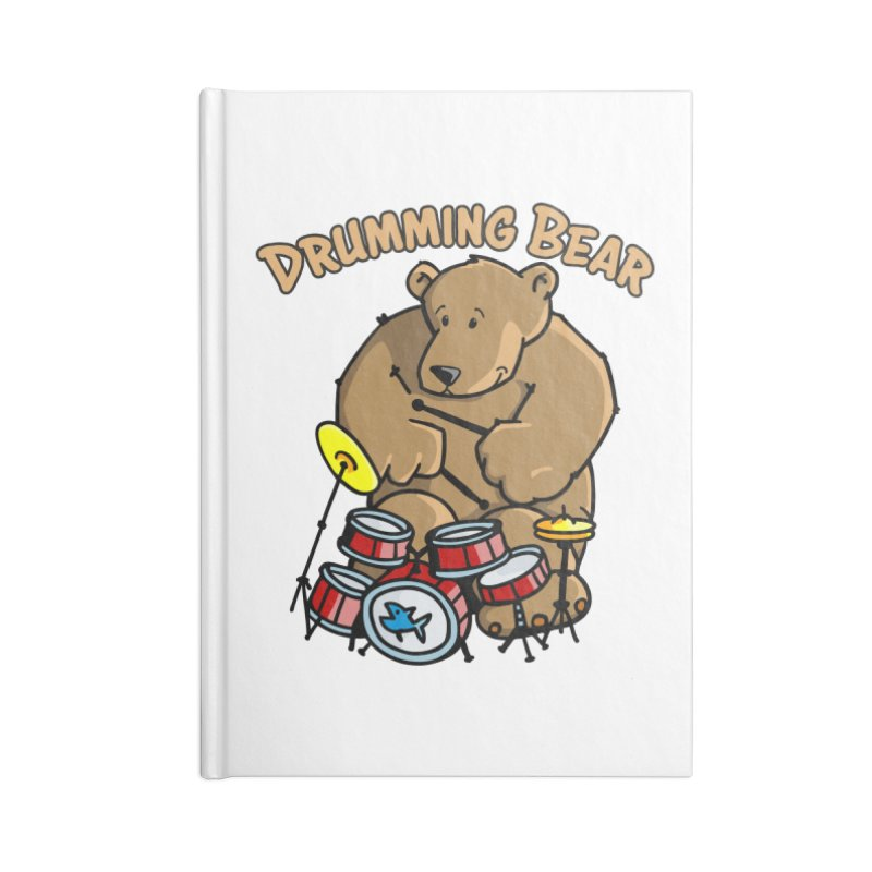 Drumming Bear plays a cool Rhythm Accessories Blank Journal Notebook by Illustrated Madness