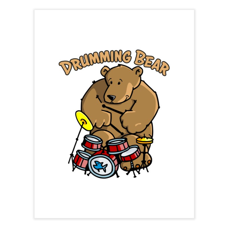 Drumming Bear plays a cool Rhythm Home Fine Art Print by Illustrated Madness
