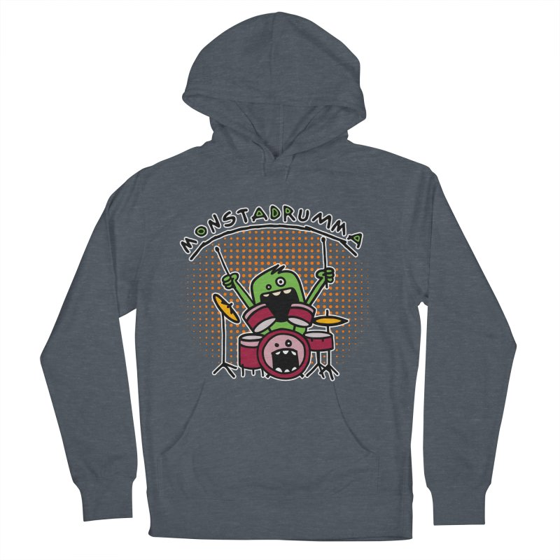 Monster Drummer Men's French Terry Pullover Hoody by Illustrated Madness