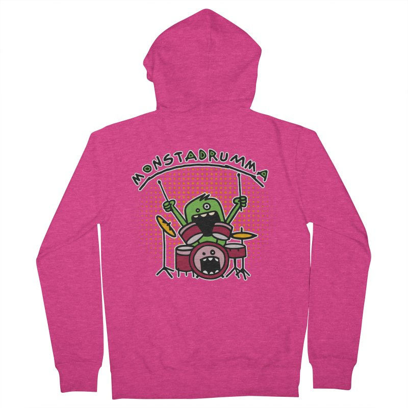 Monster Drummer Women's French Terry Zip-Up Hoody by Illustrated Madness