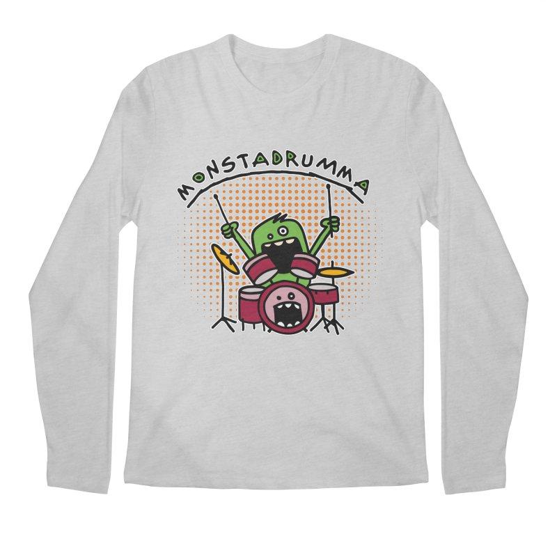 Monster Drummer Men's Regular Longsleeve T-Shirt by Illustrated Madness