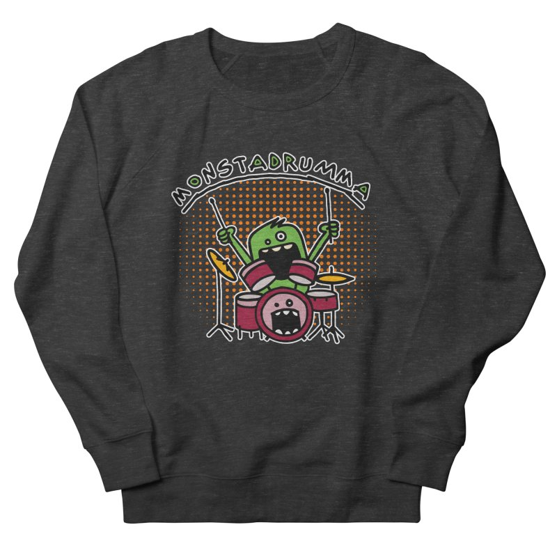Monster Drummer Men's French Terry Sweatshirt by Illustrated Madness