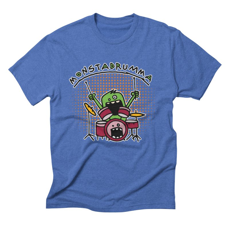 Monster Drummer Men's Triblend T-Shirt by Illustrated Madness