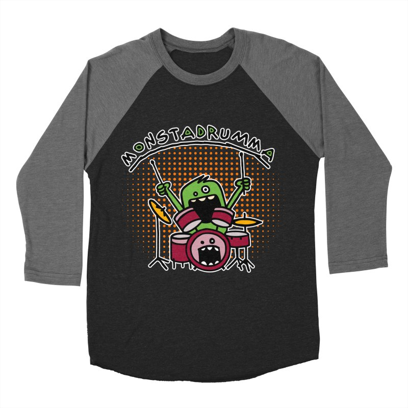 Monster Drummer Men's Baseball Triblend T-Shirt by Illustrated Madness