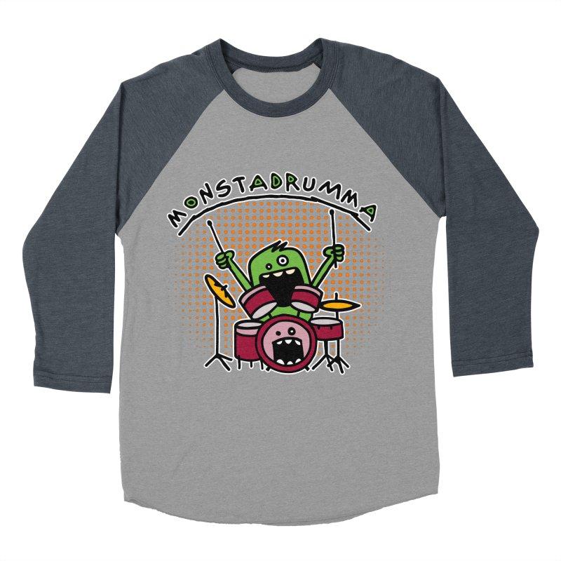 Monster Drummer Men's Baseball Triblend Longsleeve T-Shirt by Illustrated Madness
