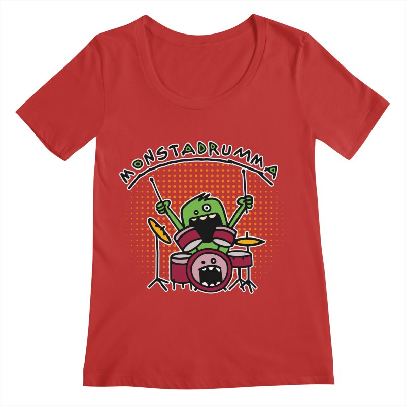 Monster Drummer Women's Scoop Neck by Illustrated Madness