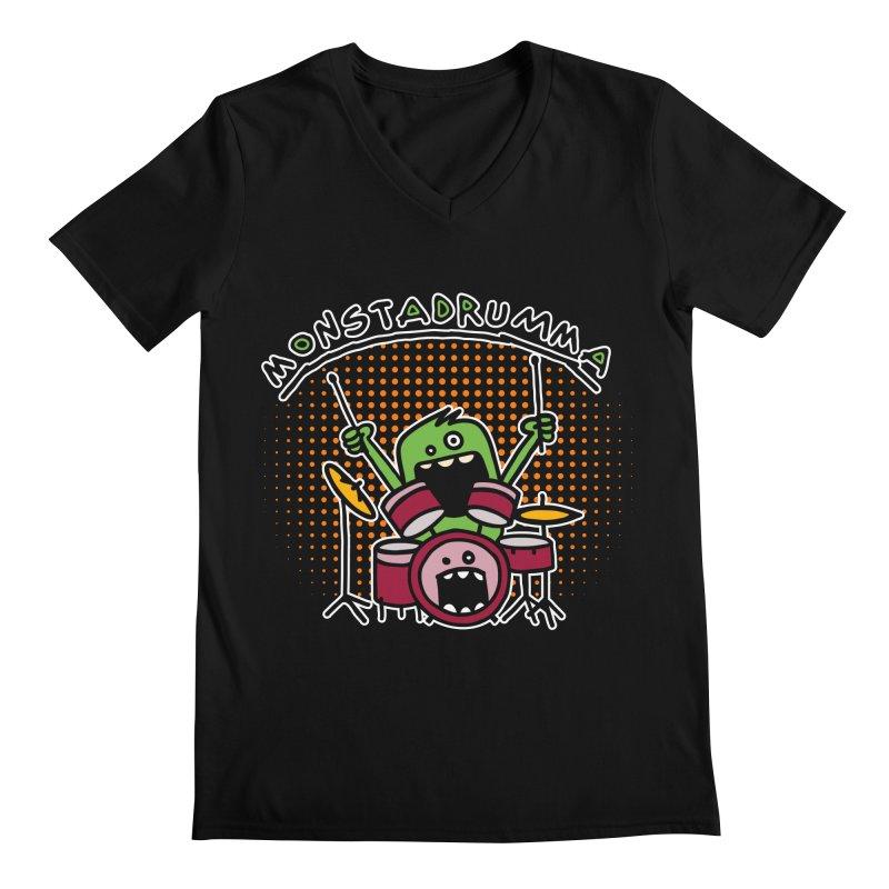 Monster Drummer Men's V-Neck by Illustrated Madness