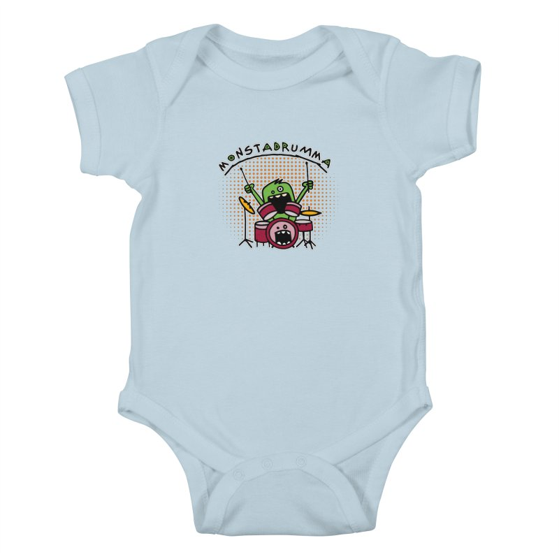 Monster Drummer Kids Baby Bodysuit by Illustrated Madness