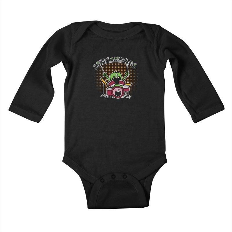 Monster Drummer Kids Baby Longsleeve Bodysuit by Illustrated Madness