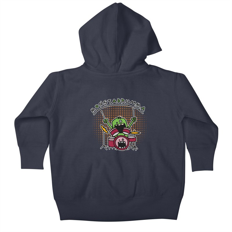 Monster Drummer Kids Baby Zip-Up Hoody by Illustrated Madness