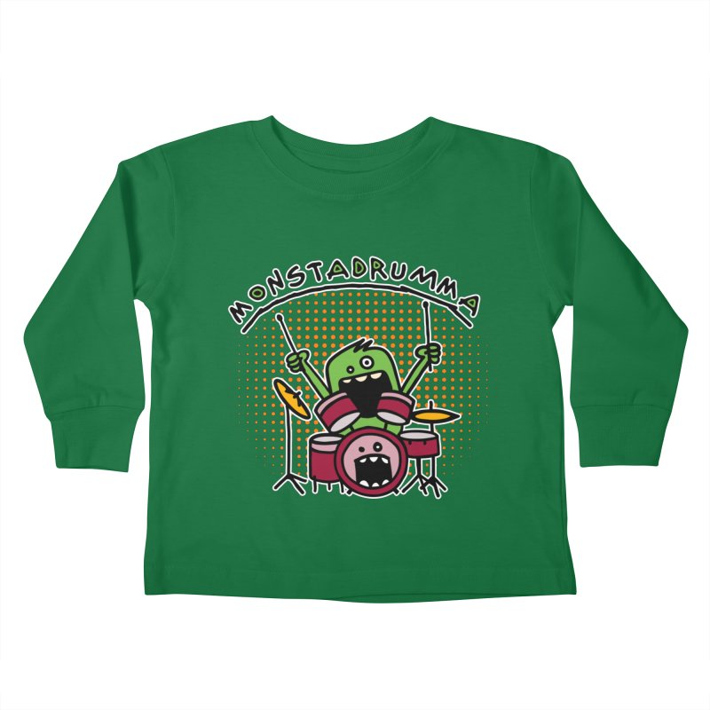 Monster Drummer Kids Toddler Longsleeve T-Shirt by Illustrated Madness