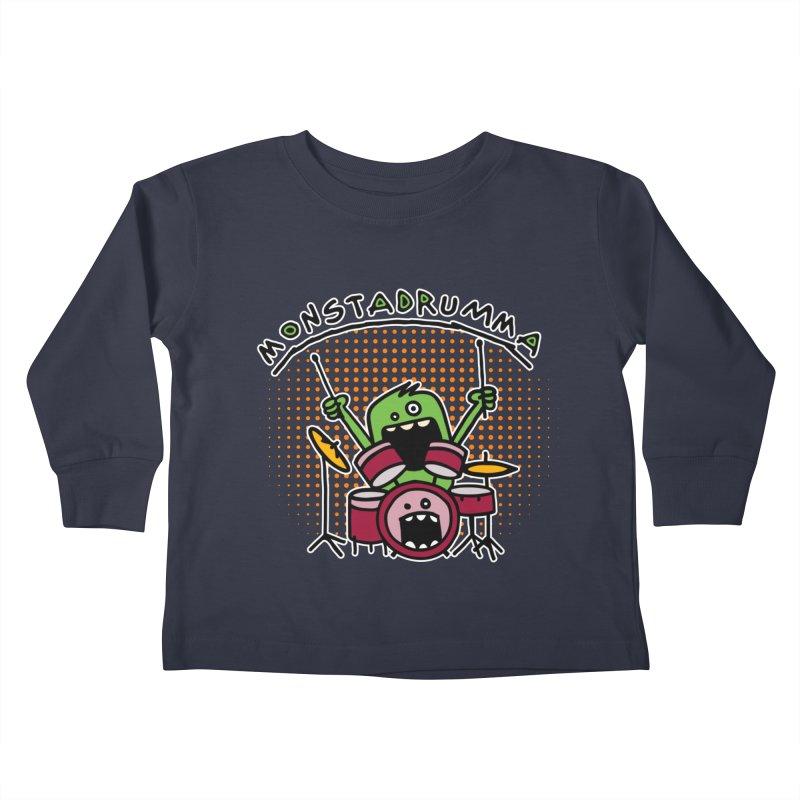 Monster Drummer Kids Toddler Longsleeve T-Shirt by Illustrated Madness