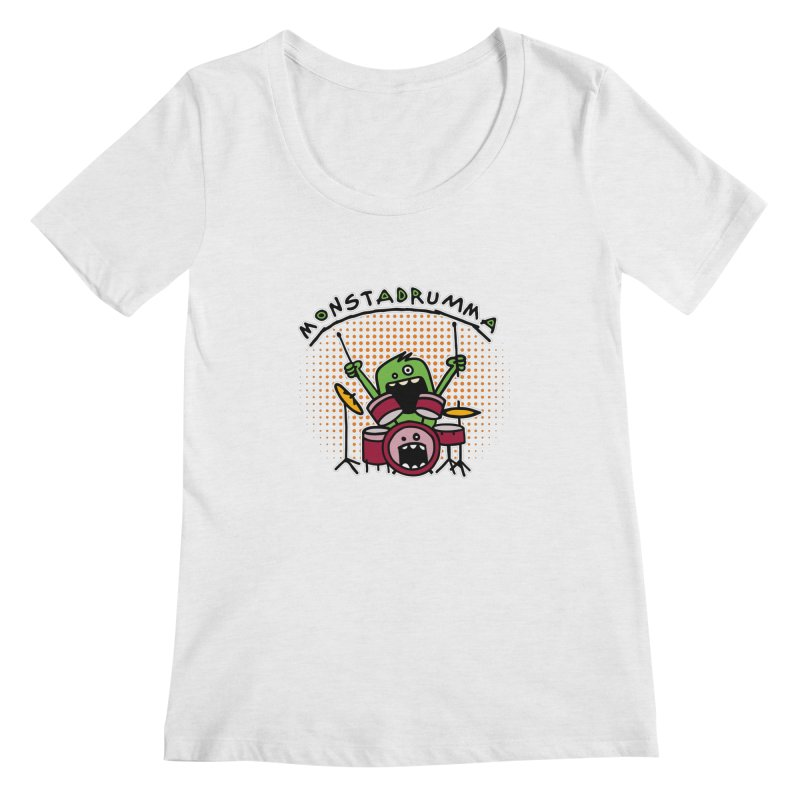 Monster Drummer Women's Regular Scoop Neck by Illustrated Madness