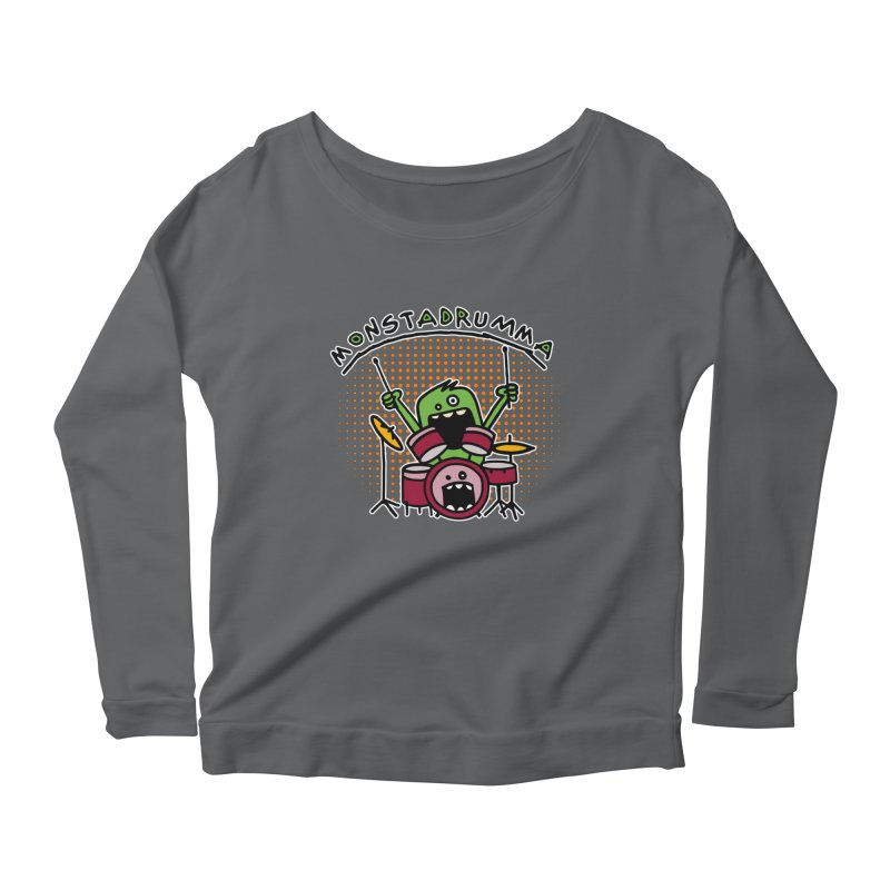 Monster Drummer Women's Longsleeve Scoopneck  by Illustrated Madness