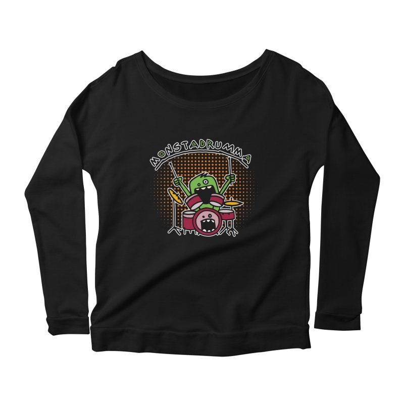 Monster Drummer Women's Scoop Neck Longsleeve T-Shirt by Illustrated Madness