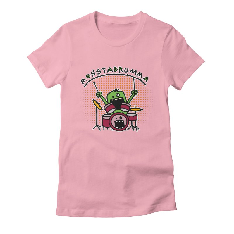 Monster Drummer Women's Fitted T-Shirt by Illustrated Madness