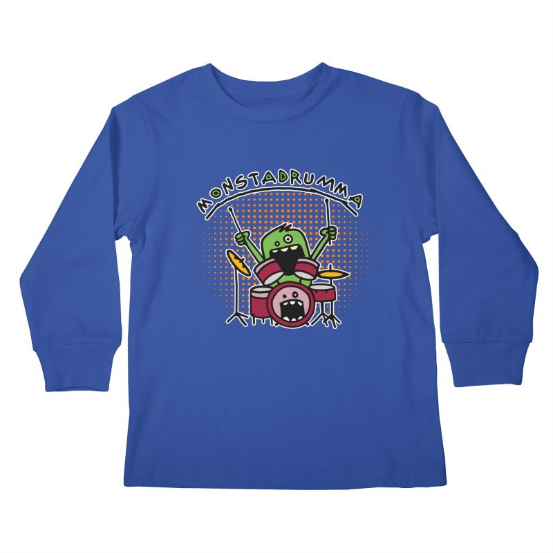 Monster Drummer Kids Longsleeve T-Shirt by Illustrated Madness