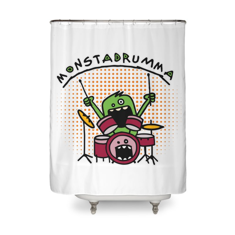 Monster Drummer Home Shower Curtain by Illustrated Madness