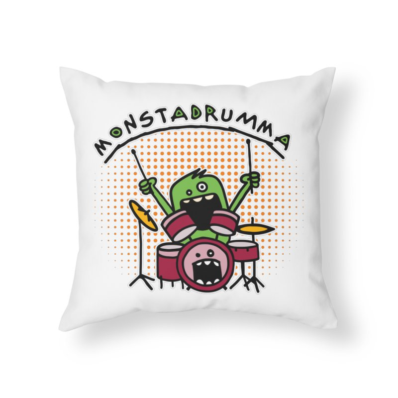 Monster Drummer Home Throw Pillow by Illustrated Madness